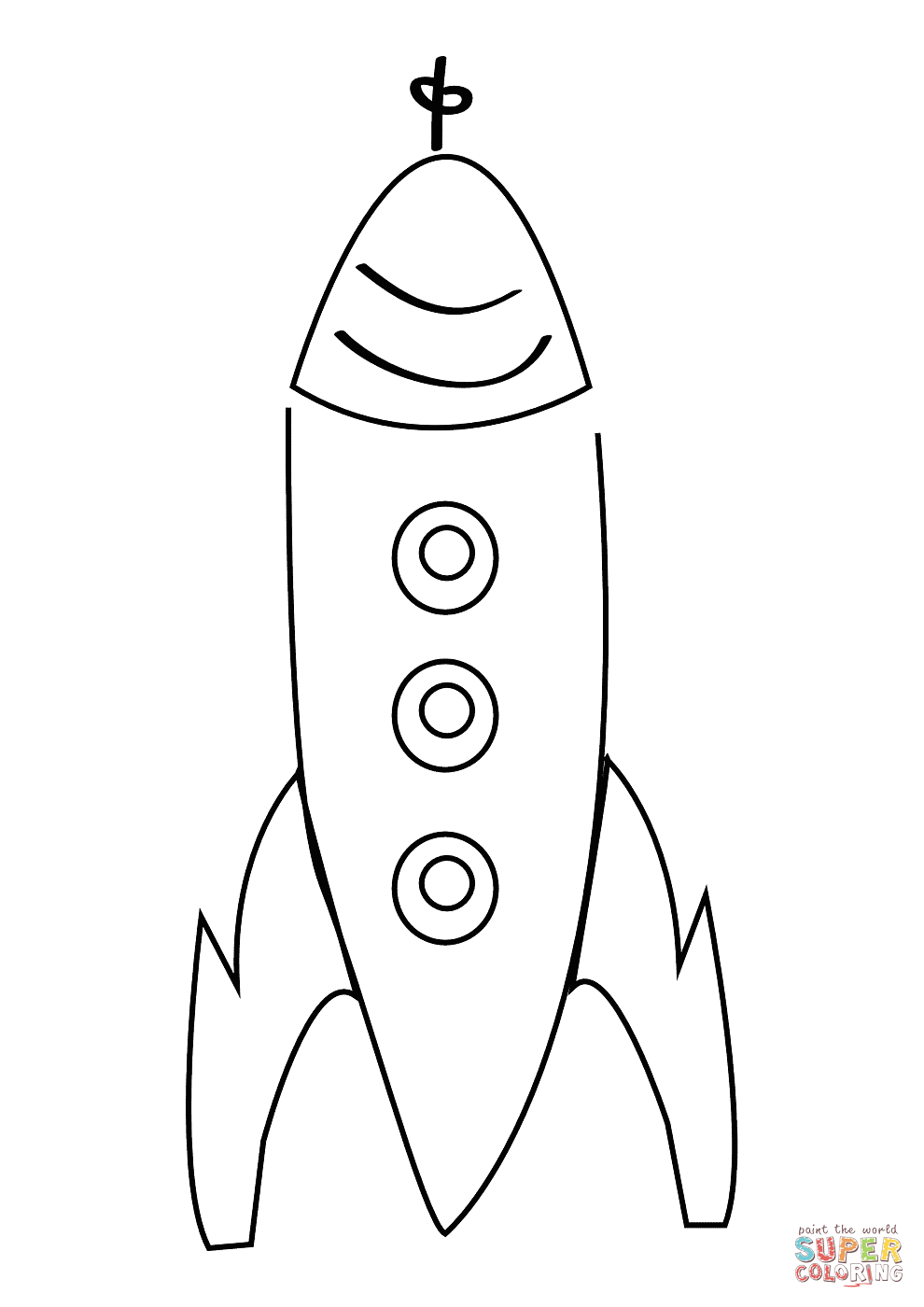 simple drawing of rocket coloring page supercoloring com art
