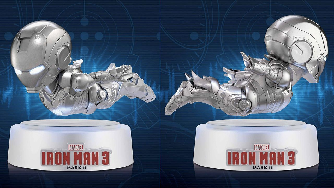 We're still wrapping our heads around the whole 'giant-headed figure' fad, but we can look past the distorted proportions of this Iron Man Mark II because it's the first Stark figure we've found that actually flies. Or floats, at least, thanks to an electromagnetic powered base that doubles as a lovely display stand.
