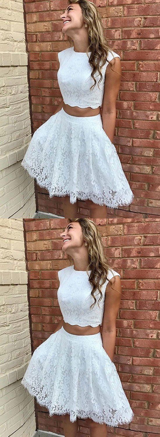 White lace two pieces short prom dress homecoming dress in