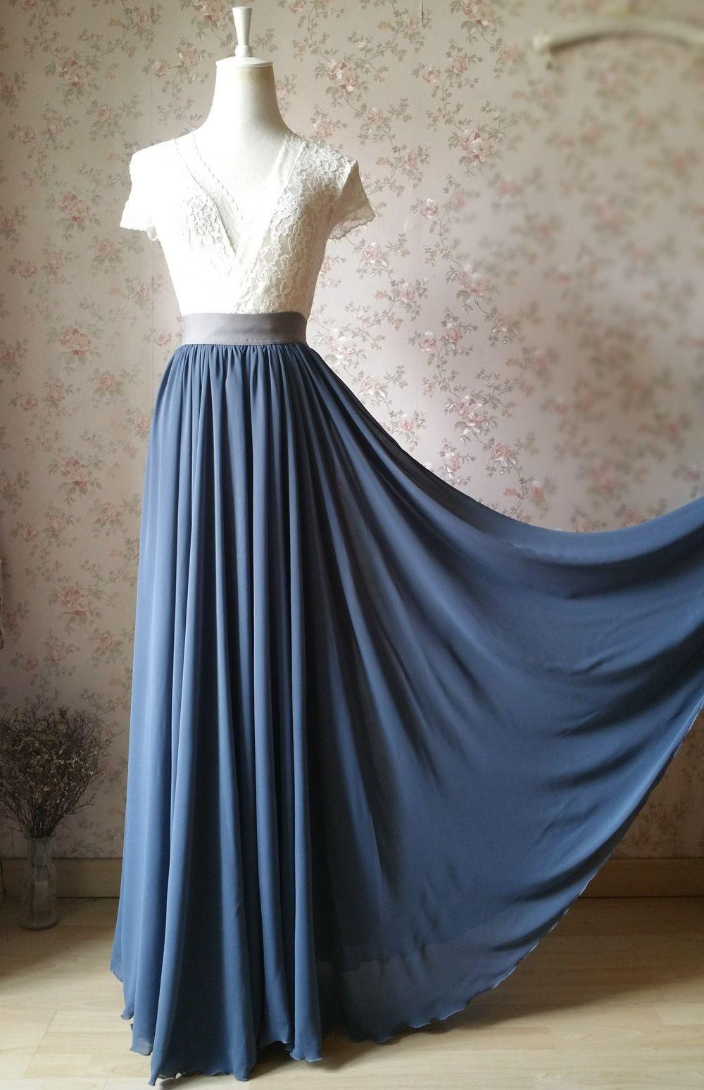 $58.99 DUSTY BLUE Wedding Chiffon Maxi Skirt High Waist ...
