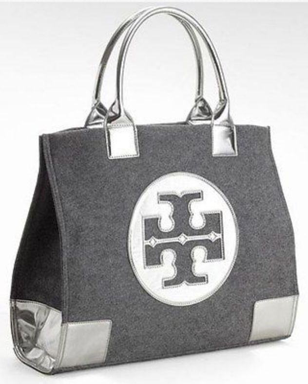 3fbe3d49160 NWT TORY BURCH ELLA SILVER/GRAY FLANNEL LARGE TOTE BAG AUTHENTIC ...