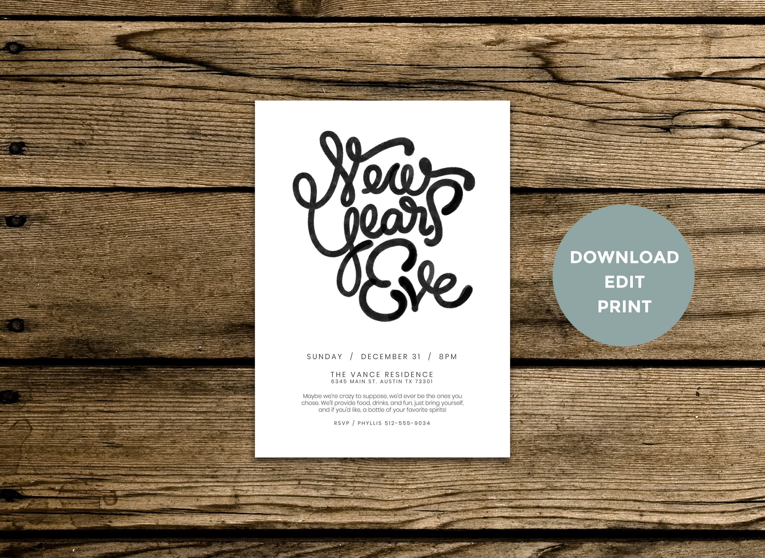 New Year S Eve Party Minimalist Invitation Hand Drawn Typography