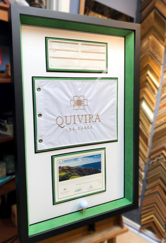 Framing The Ultimate Hole In One Golf Ball Certificate Flag And Scorecard Jacquez Art Custom Framing Custom Framing Hole In One Framed Flag