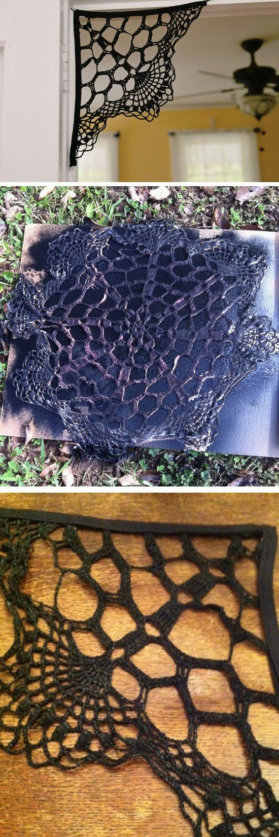 Doily Spiderweb Click Pic for 21 Easy DIY outdoor Halloween - Halloween House Decorating Ideas Outside