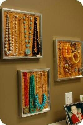 Cork in a simple frame DIY jewelry holder DIY Pinterest