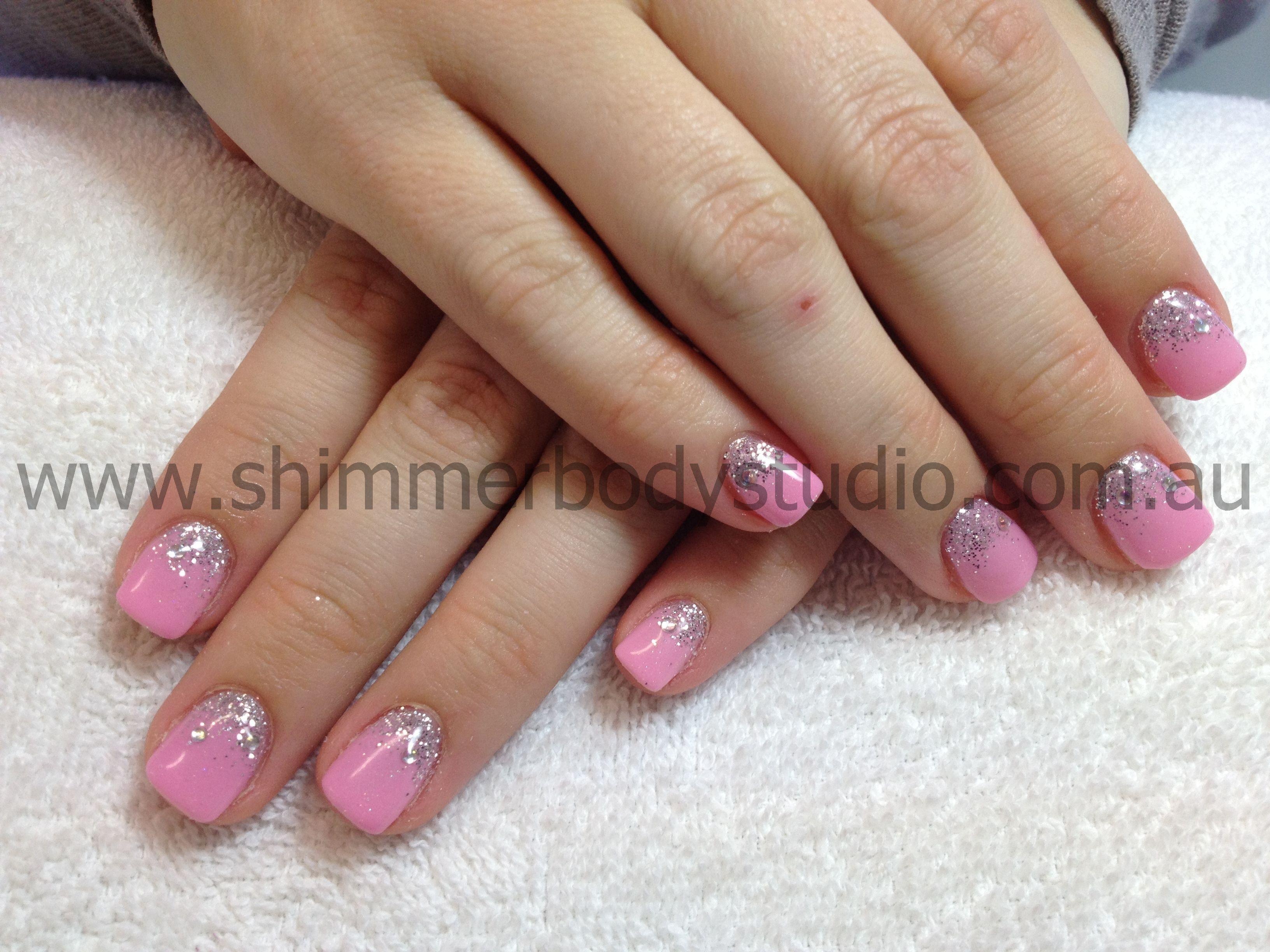 Gel nails, pink nails, glitter nails, glitter fade. | Rock Star Gel ...