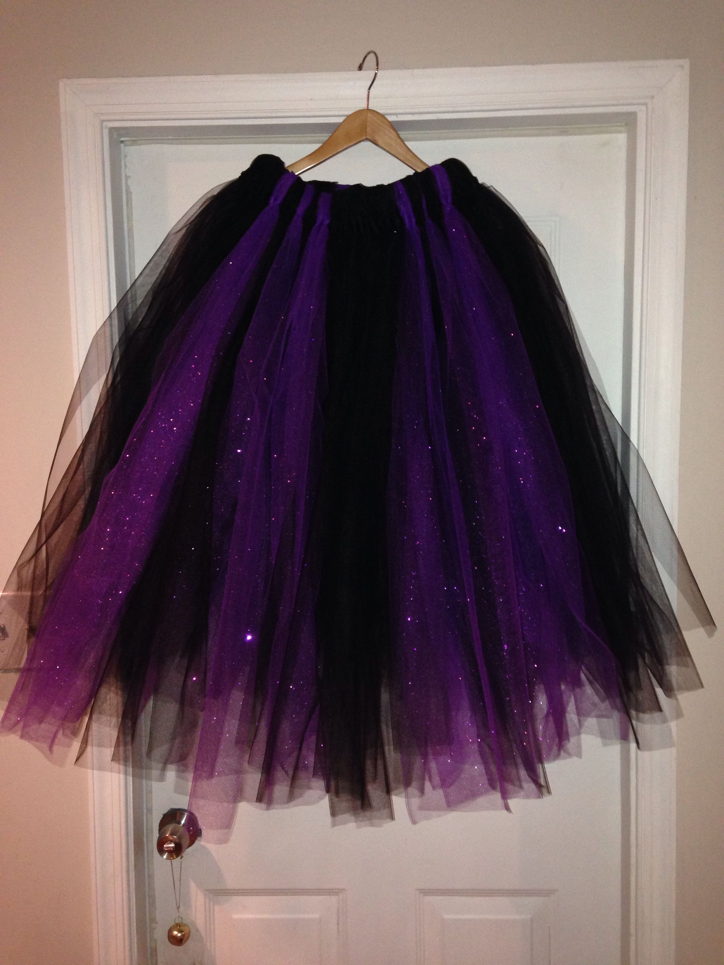 83df11a1a0 Virtually no-sew adult black and purple tulle skirt for my witch costume  this year! #nosewtulleskirt