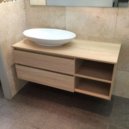Meuble salle de bain Chªne clair 120 cm 2 tiroirs Terra