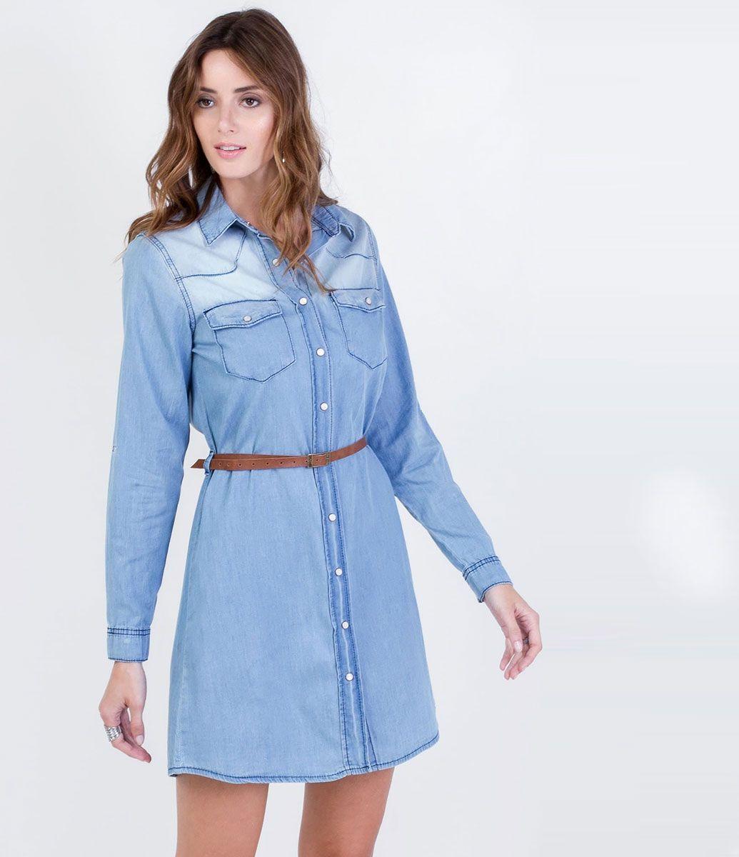437b3e4d0 Vestido feminino Modelo chemise Manga longa com martingale Com cinto Marca:  Marfinno Tecido: jeans Composição: 100% algodão Modelo veste tamanho: P  COLEÇÃO ...