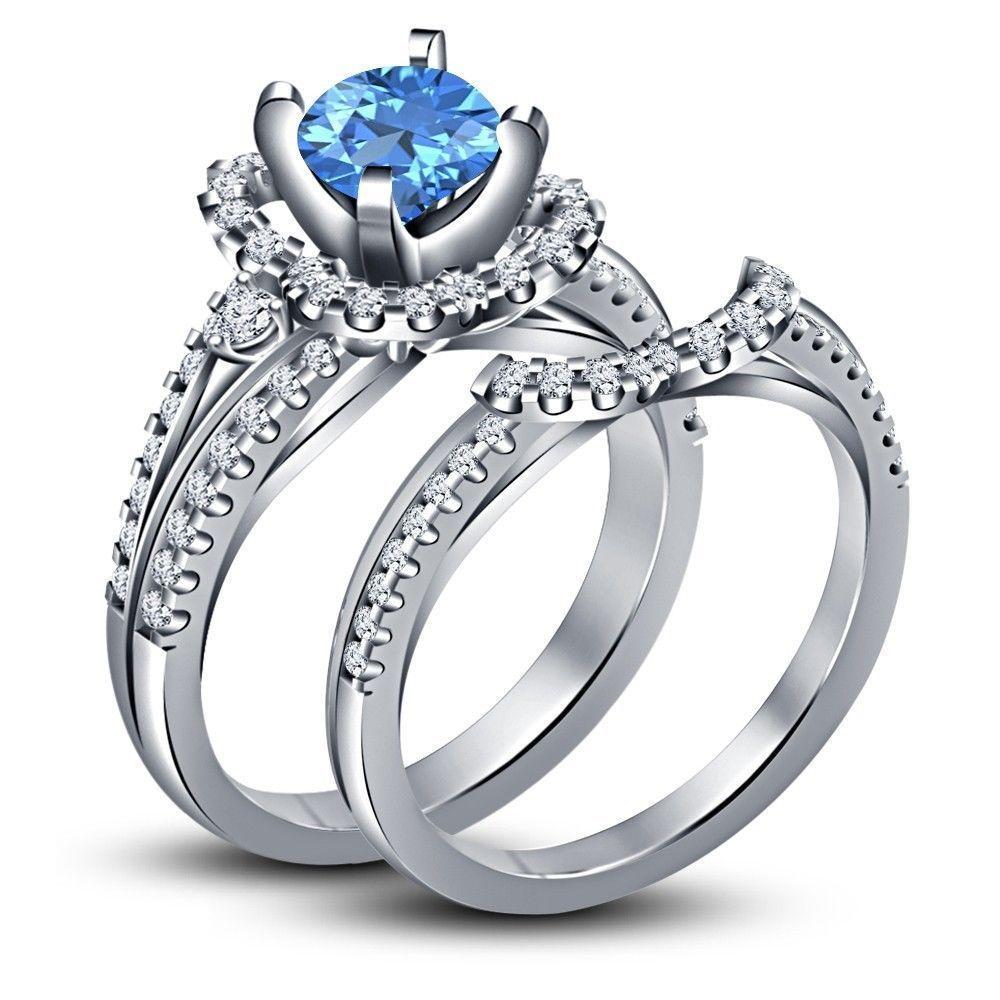 White Gold Finish in 925 Silver Disney Princess Cinderella Bridal Set Ring Sz 6