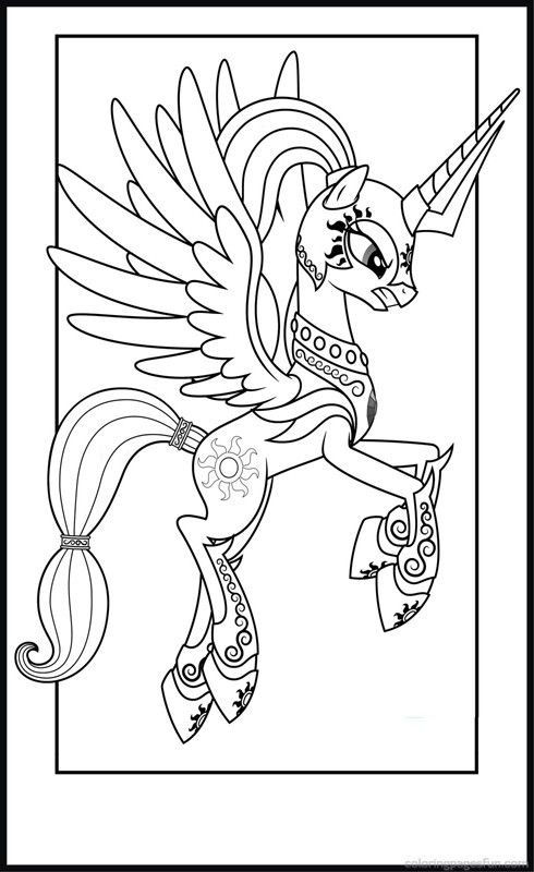 Princess Celestia in Armor Colouring pages file Pinterest