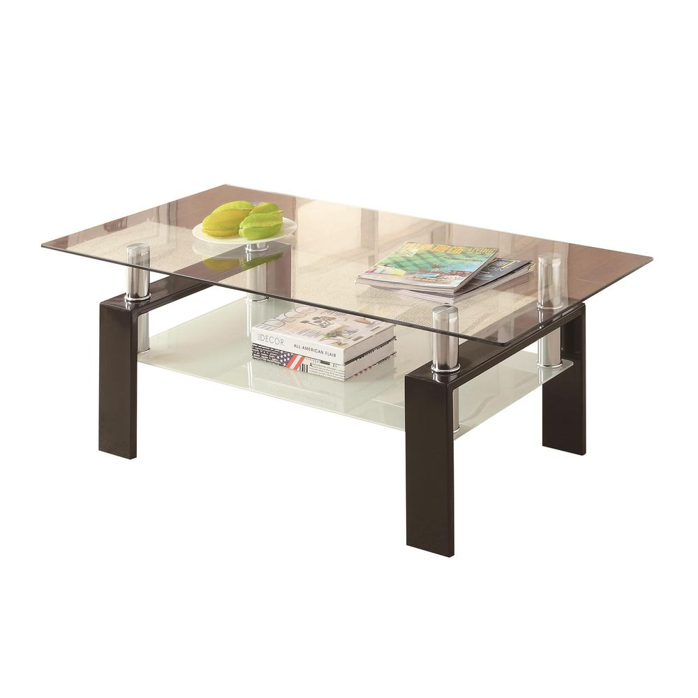 Coaster Black And Clear Tempered Glass Coffee Table With Shelf