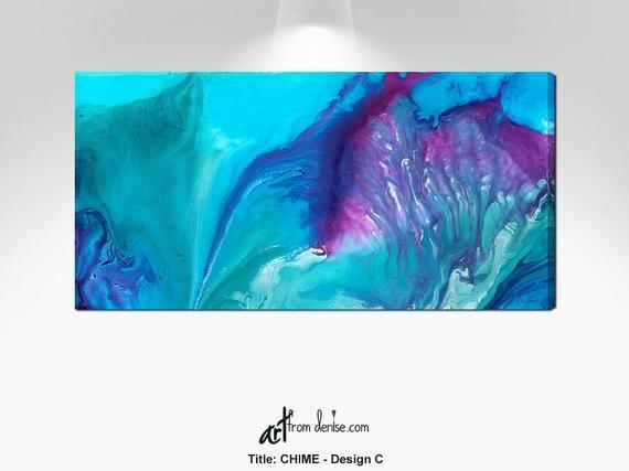 Large purple teal abstract canvas art, Aqua blue turquoise navy plum, Wide horizontal wall art for Bedroom #purpledormrooms