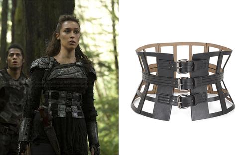 "cfc95ae429 Lexa (Alycia Debnam Carey) wears a BCBGMAXAZRIA Grid Cutout Corset Waist  Belt in the color Black in The 100 Season 2 Episode 10 ""Survival of the  Fittest."""