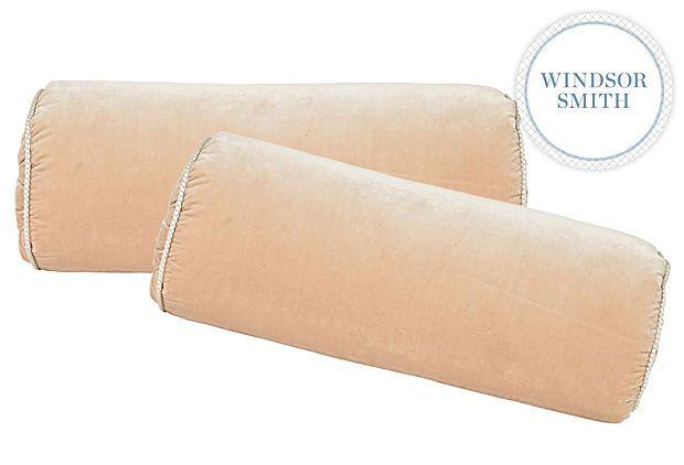 Pink Velvet Bolster Pillows, Pair on OneKingsLane.com