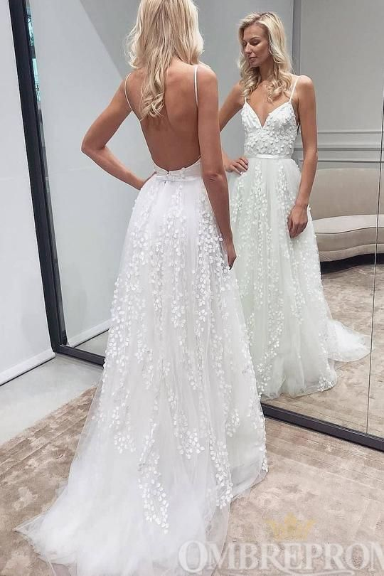 Simple Spaghetti Straps Backless A Line Wedding Dresses W784 Beach Wedding Dresses Backless Wedding Dresses With Straps White Lace Wedding Dress