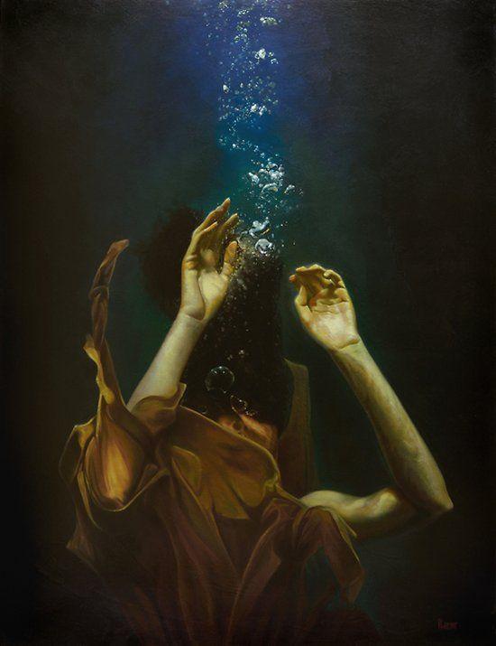 As pinturas foto-realistas de mulheres na água de Mark Heine