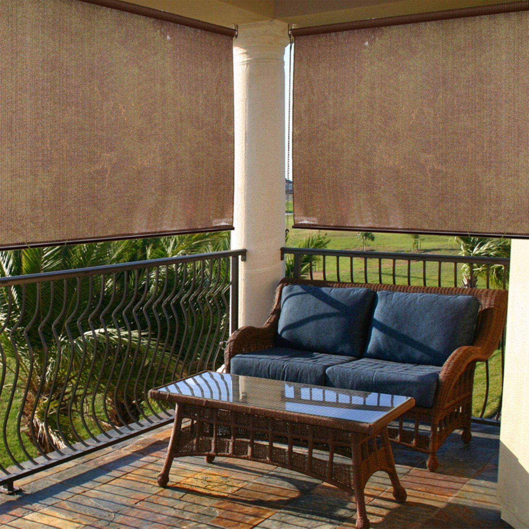 Radiance Cocoa Indoor Outdoor Roller Exterior Sun Shade 2310014 Outdoor Shade Porch Shades Exterior Solar Shade