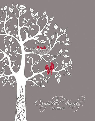 Personalized family tree with love birds and babies