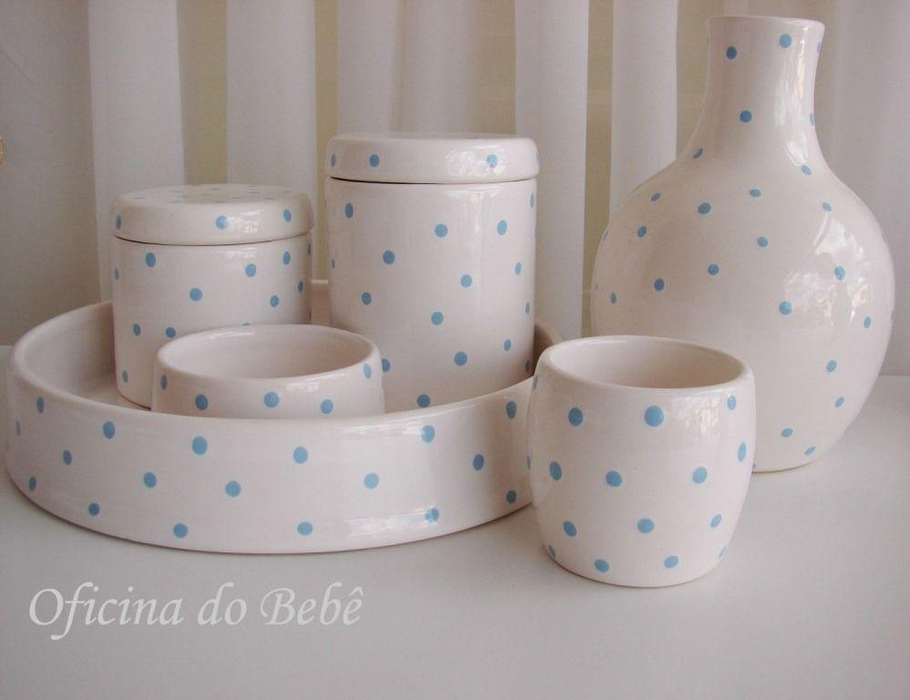 5c9fbc66b Kit Higiene Porcelana Cerâmica Algodão Cotonete Bebê Póa - R  159