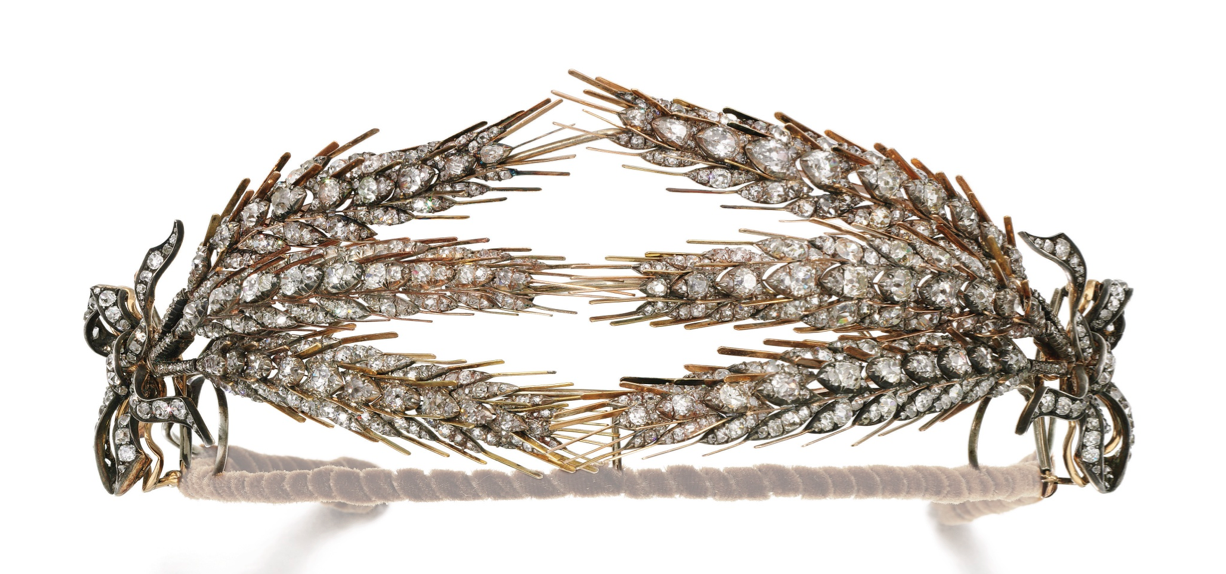 Wheat Sheaf Tiara - second half of 19th century,  diamonds & gold. Components detach to form brooches.