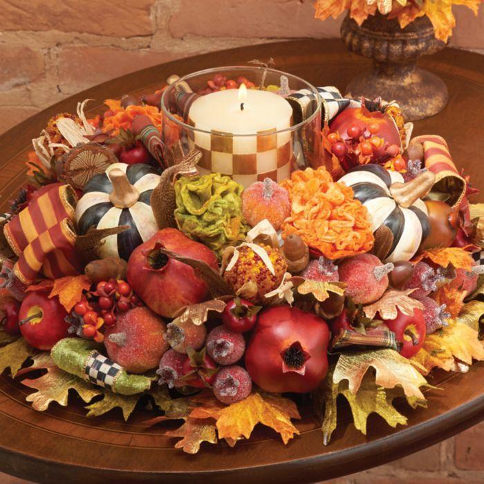 Mackenzie Childs Autumn Harvest Candle Centerpiece Fall Harvest Candle Centerpieces Mackenzie Childs