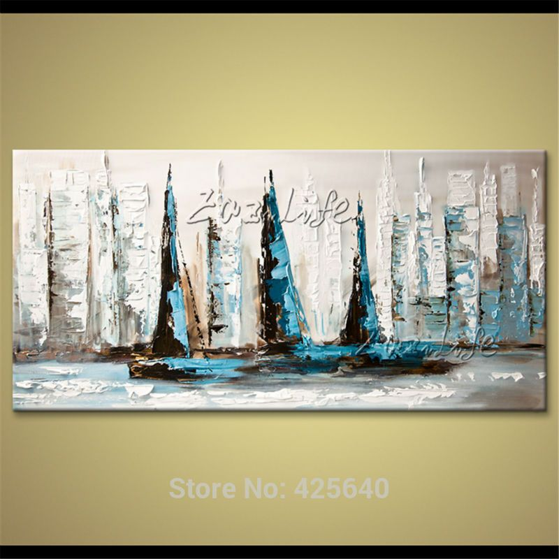Hand painted canvas oil paintings Wall art Pictures for living room ...