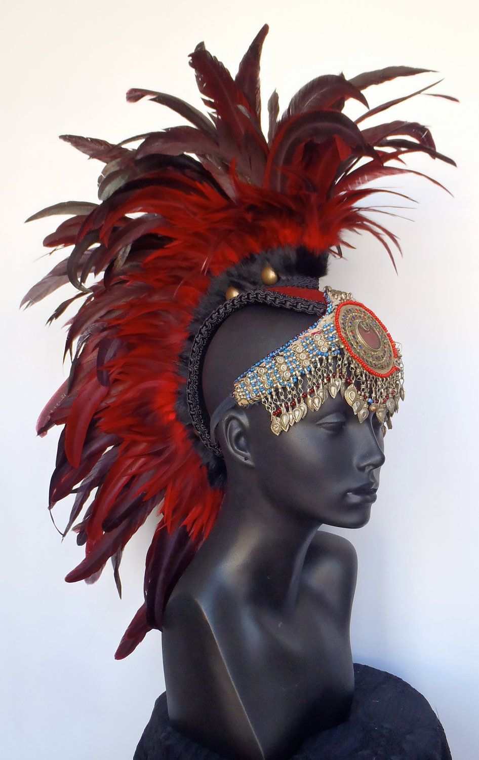 Red Feather Mohawk with Tribal Jewelry. $315.00, via Etsy.