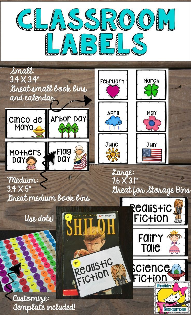 Classroom Library Labels and Calendar Cards - 4 Editable