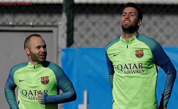 Andres Iniesta, Sergio Busquests fit for Barcelona match against Atletico Madrid