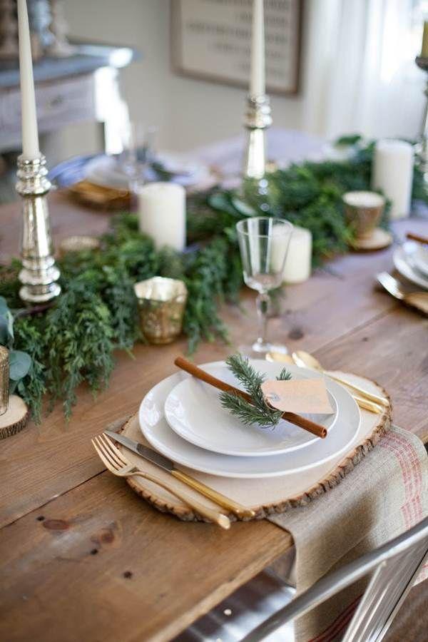 Navidad r stica navidad decoraci n navide a mesa de - Decoracion mesa de navidad ...