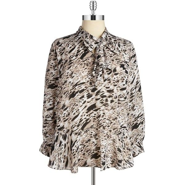Vince Camuto Plus Plus Tie-Neck Blouse ($33) ❤ liked on Polyvore featuring plus size women's fashion, plus size clothing, plus size tops, plus size blouses, plus size, tusk, long sleeve tie neck blouse, plus size long sleeve blouse, tie neck blouse and neck ties