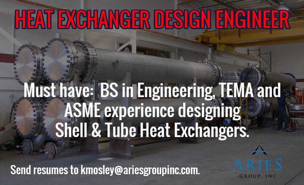 HEAT EXCHANGER DESIGN ENGINEER   Must have BS in Engineering - engine design engineer sample resume