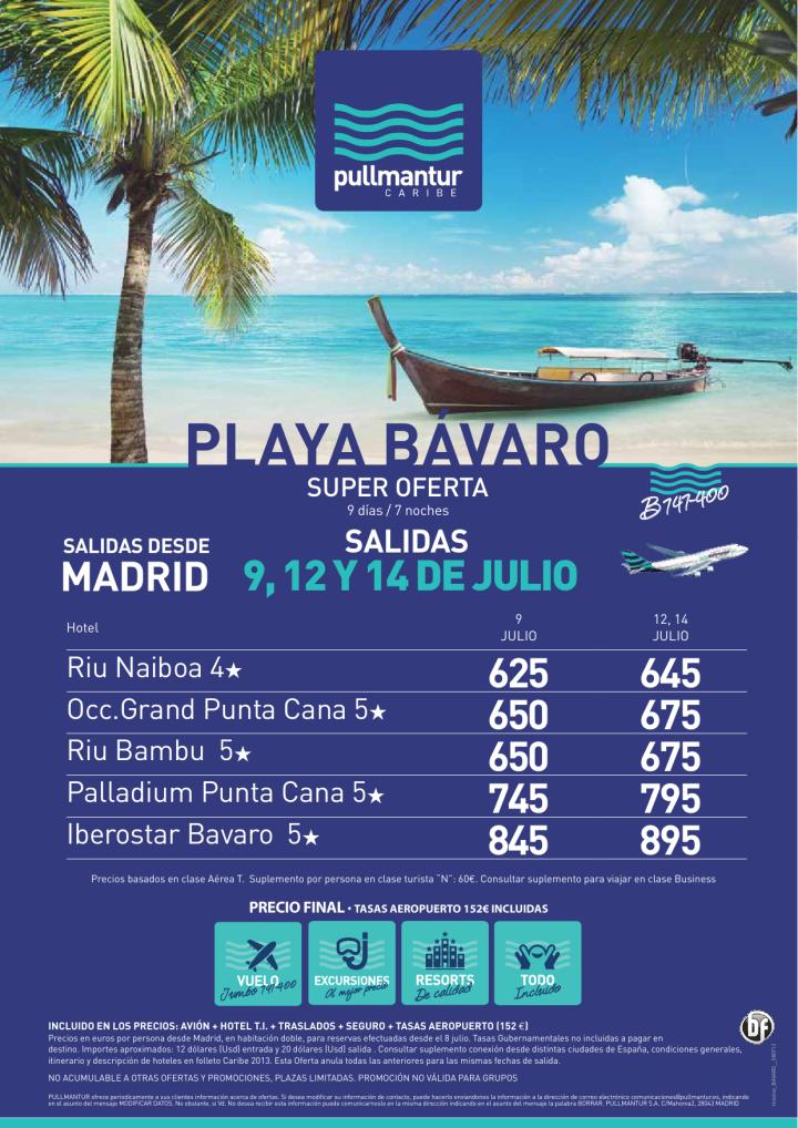 Super Oferta Playa Bávaro Salidas 9 , 12 y 14 Julio - http://zocotours.com/super-oferta-playa-bavaro-salidas-9-12-y-14-julio/