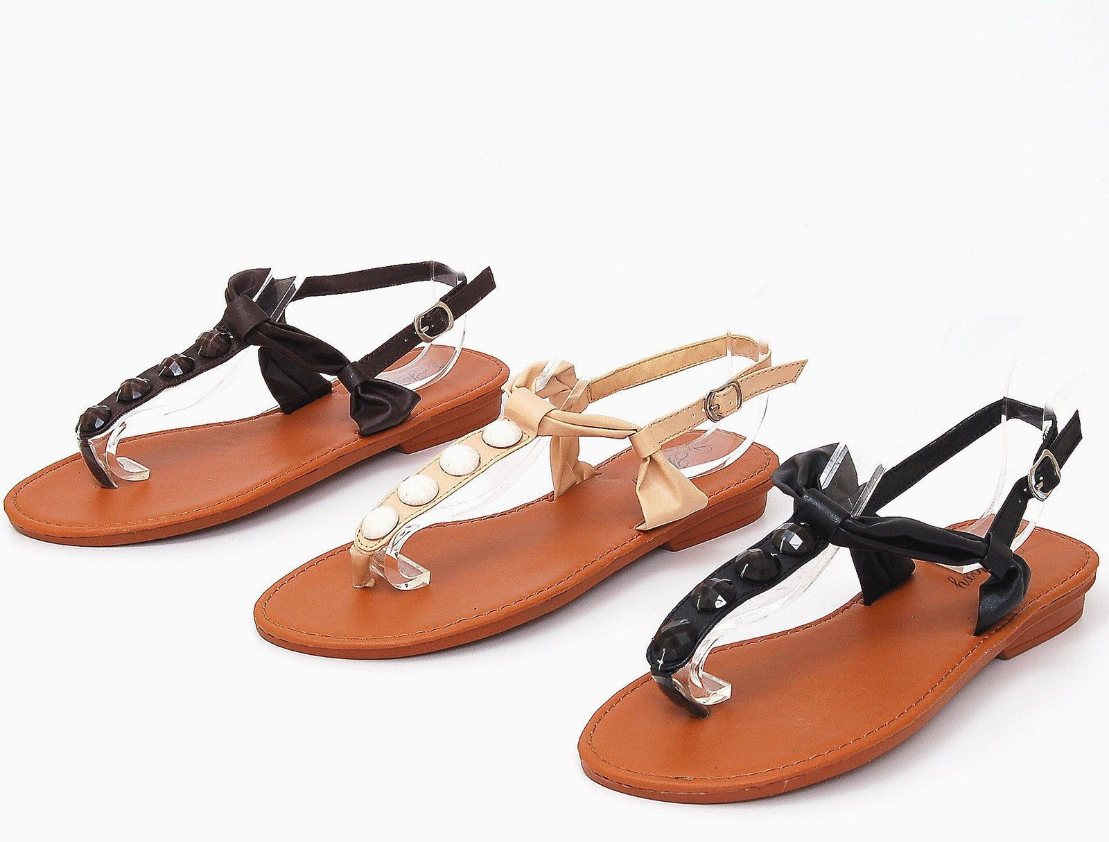 b4b5a8e98e2 Womens Gladiator Sandals Roman Thongs Summer Flats Shoe Ankle Straps in 3  Colors