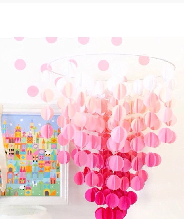 Pink Ombre Baby Mobile, Baby Crib Mobile, Nursery Mobile