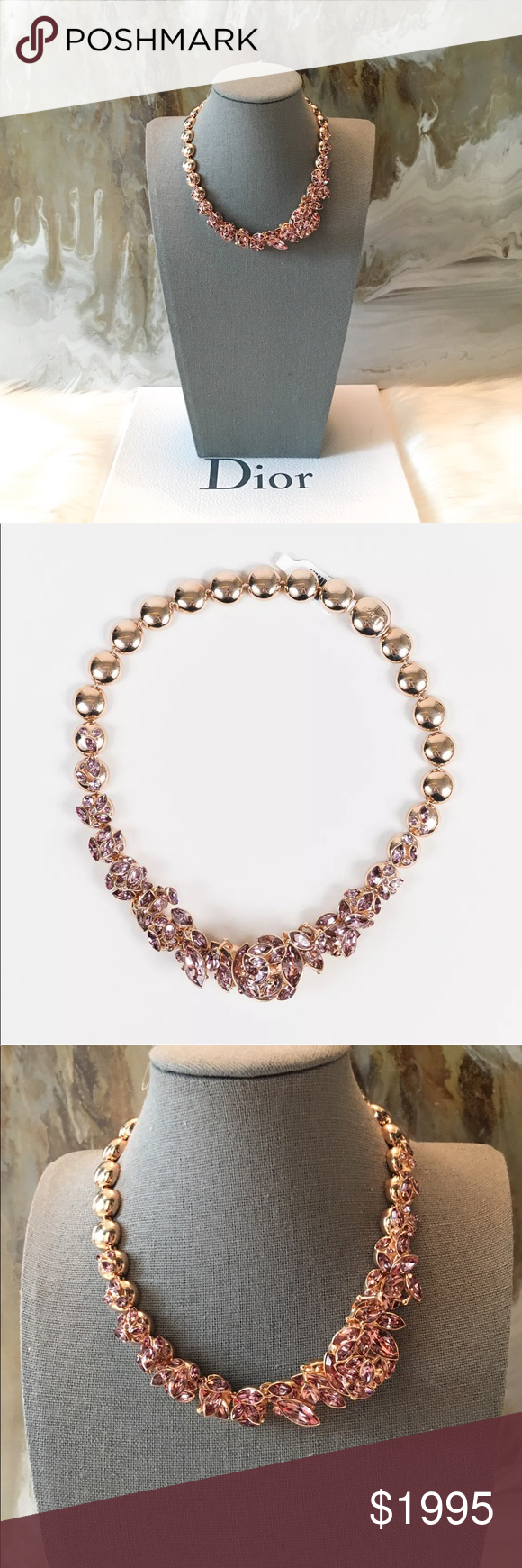 $2300 Dior Pink Crystal Flower Gold Necklace