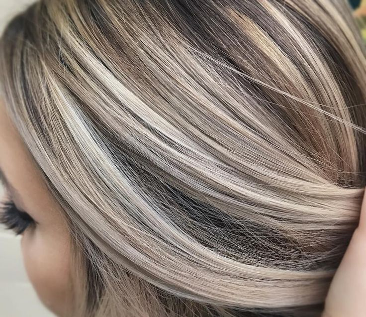 Cool Ash Blonde Against A Neutral Brown Brown Blonde Hair Brown Hair With Blonde Highlights Transition To Gray Hair