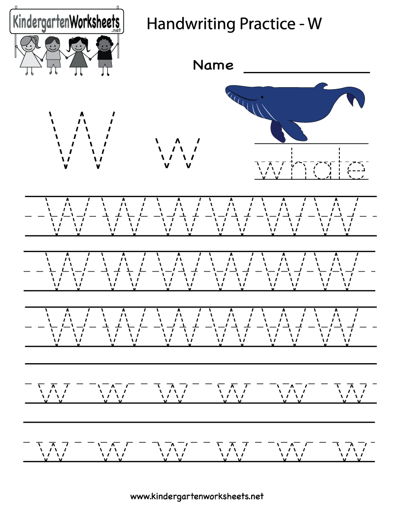 kindergarten letter w writing practice worksheet printable handwriting pinterest writing. Black Bedroom Furniture Sets. Home Design Ideas