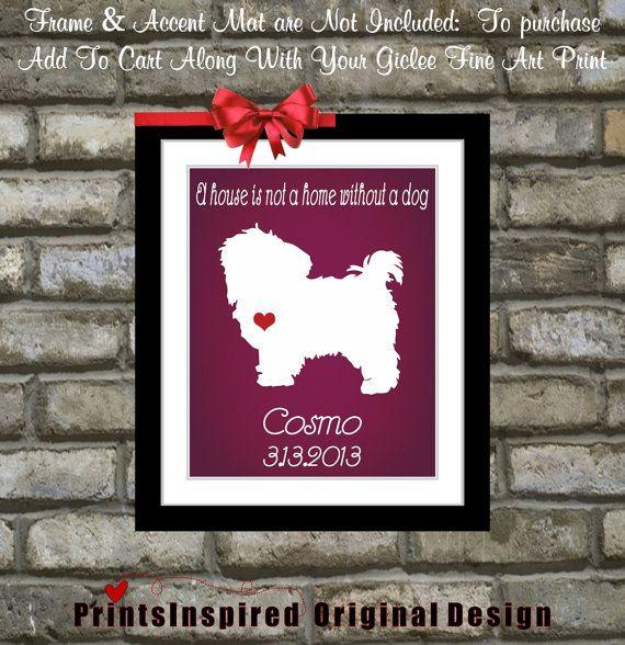 Custom Dog Silhouette Pet Gift I Love My Maltipoo Maltese Portrait Lover Doggie Present Animal Wall Art Print Heart Name Home Decor