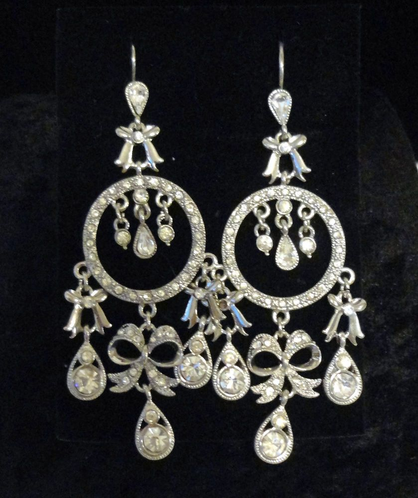 Kenneth Jay Lane Chandelier Bow Earrings Silver Rhinestone Pierced Signed #KennethJayLane