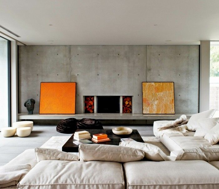 wohneinrichtung ideen beton krasse akzente wohnideen wohnzimmer - wohnzimmer orange beige