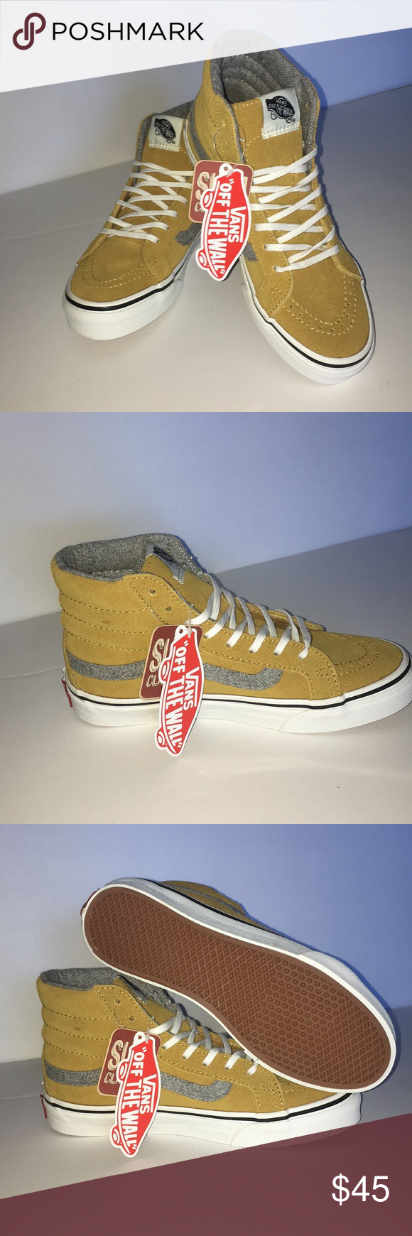 eb5449d5ed Vans SK8-Hi Slim (Vintage Suede) Brand new in box with original tags! Vans  Sk8-Hi Slim (Vintage Suede) Amber Gold Size 3.5 Men