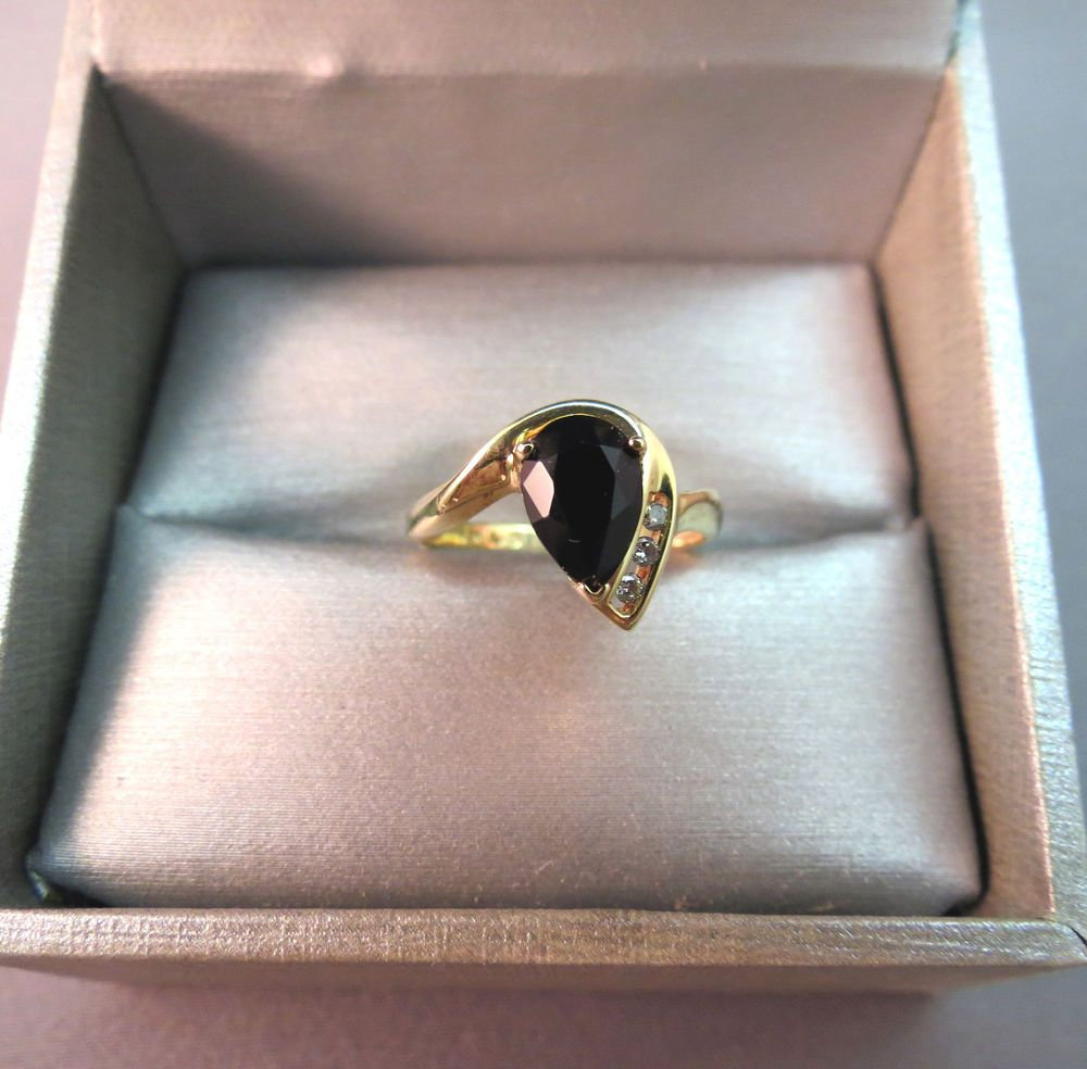 10k Yellow Gold Diamond Black Onyx Ring Marked Ajpear Stone Sz 6 5 Modernistic Black Onyx Ring Onyx Ring Black Onyx