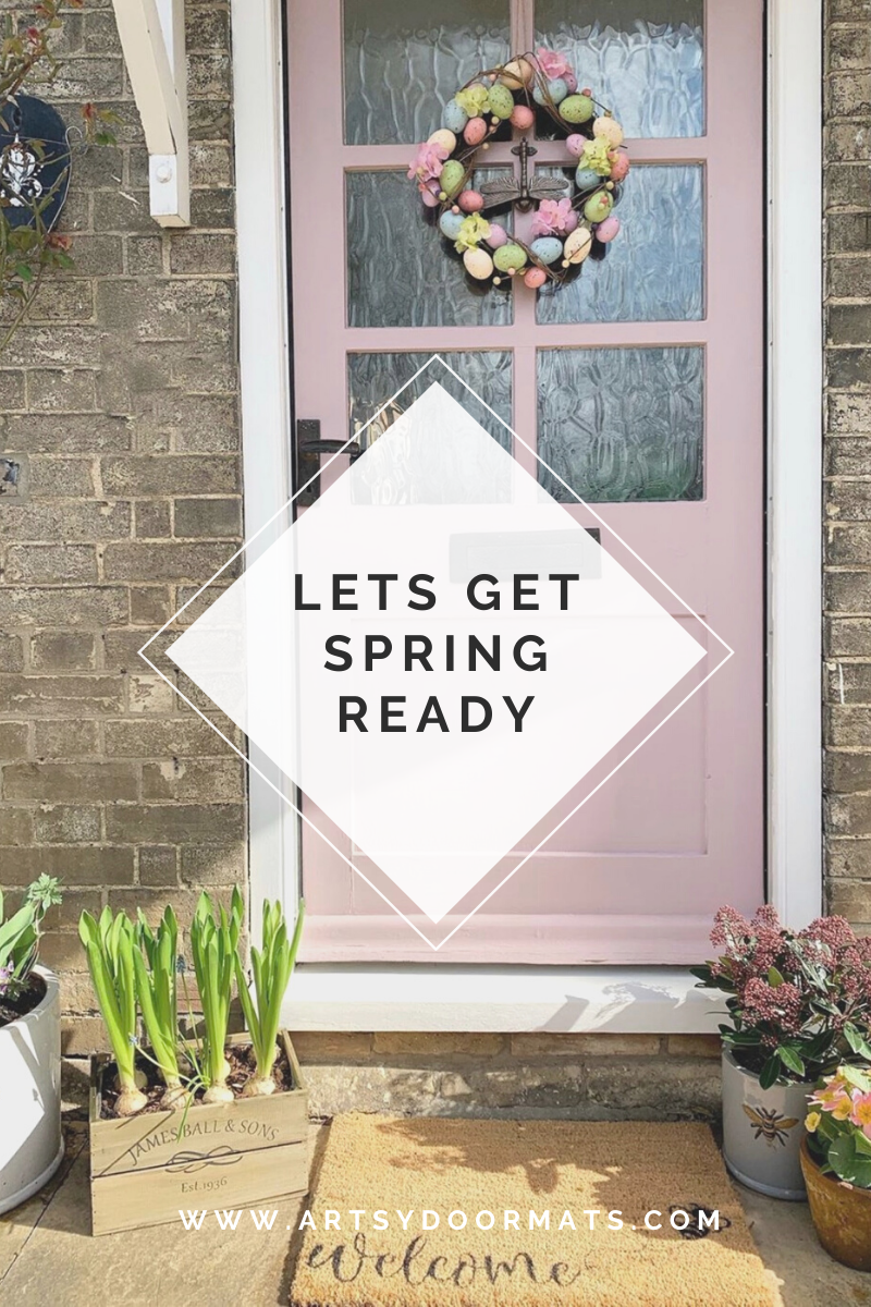If you are like the many of us who have been dreaming of a little sunshine since Christmas then there is no harm getting ready for it when the time comes with a little spring clean and redecorating. This blog provides lots of useful tips to help do a little spring clean whilst we have a bit of spare time during this season! #blog #springblog #decoratethehome #gardenblog #artsydoormats #frontdoordecor #renovationblog #springclean #pinkfrontdoor #easterwreath #springflowers #daffodils