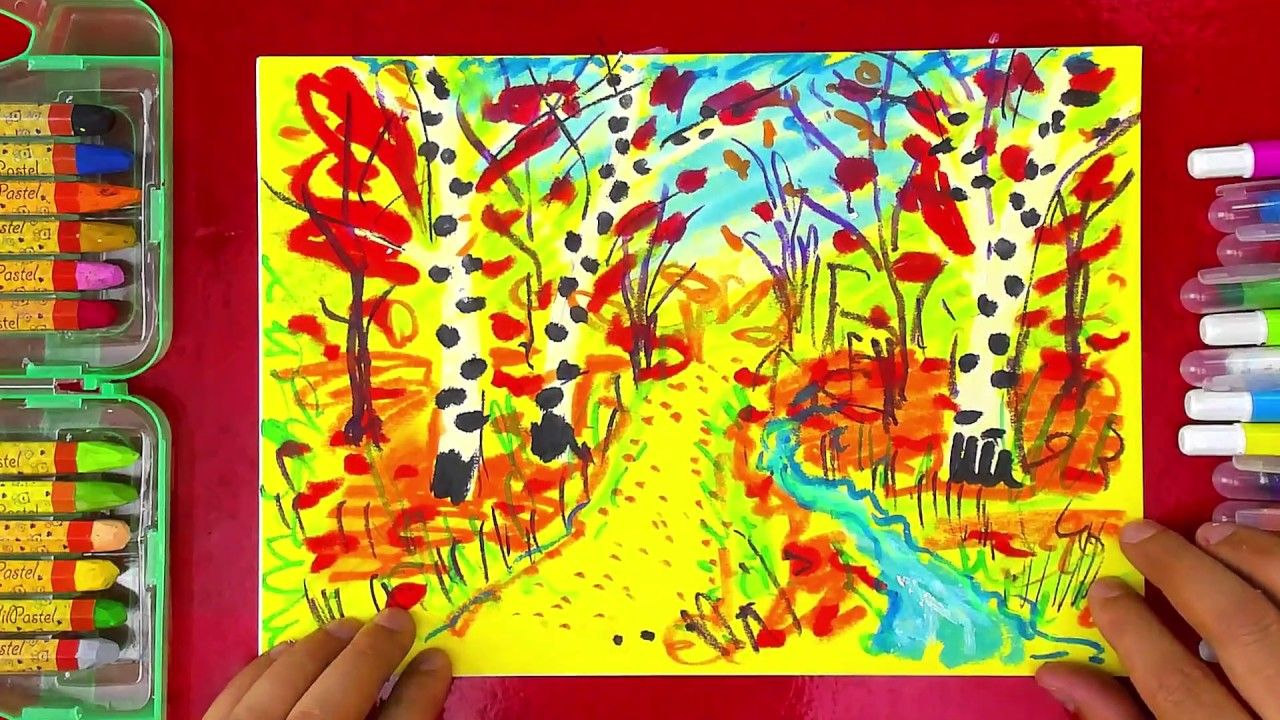 Пейзаж ОСЕНЬ рисуем мелками для детей | Пейзажи, Для детей ...