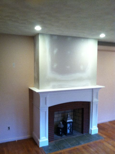 Fireplace Mantel Ideas - cover brick with drywall ...