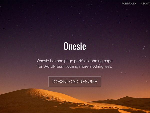 "Onesie - free one page responsive ""landing page"" theme 