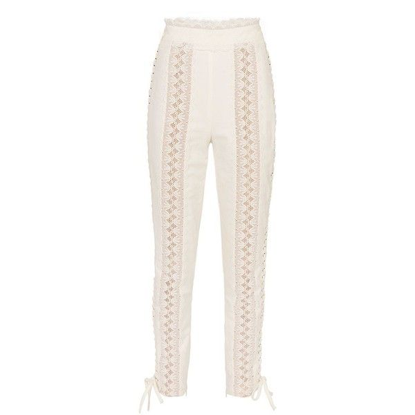 04ce7c88cbc312 Zimmermann Women's Stovepipe Lace-Up Pants ($895) ❤ liked on Polyvore  featuring pants, ivory, cotton pants, pink high waisted trousers, high rise  trousers, ...