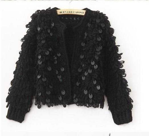 Woman Sequins Mohair hollow knitted cardigan sweater tassels jacket sequined Fashion shortliilgal